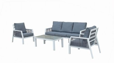 Bettina 5 seat sofa set in white powder coat with rope weaving in the arms